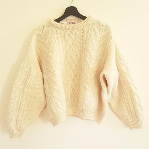 Sweaters British Cable Knit Oversize Cream Wool Sweater Poshmark